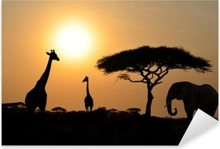 Sticker Pixerstick Girafes et éléphant avec arbre d'acacia avec Sunset