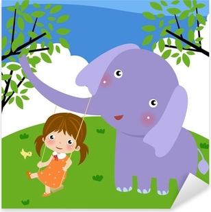 girl and elephant Pixerstick Sticker