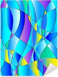 Pixerstick Sticker Glas in lood textuur, blauwe tint, achtergrond vector