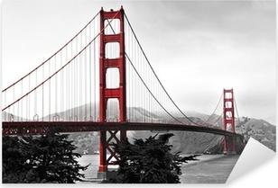 Golden Gate Bridge, red pop on a black and white background Pixerstick Sticker