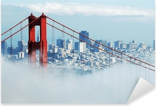 Sticker Pixerstick Golden gate san francisco et dans le brouillard