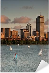 Golden Sunset over Boston Pixerstick Sticker