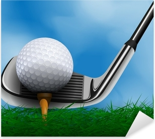 Golf ball and club in front of grass Pixerstick Sticker