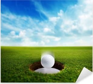 Golf Ball falling into hole Pixerstick Sticker