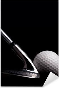 golf club with ball on black background Pixerstick Sticker
