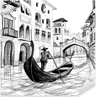 Gondola in Venice vector sketch Pixerstick Sticker