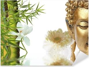 Pixerstick Sticker Gouden Boeddha, Lotus en bamboe Aziatische