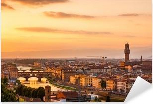 Pixerstick Sticker Gouden zonsondergang over de rivier de Arno, Florence, Italië
