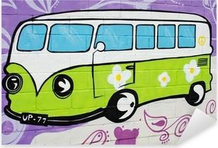 Graffiti bus hippy. Pixerstick Sticker