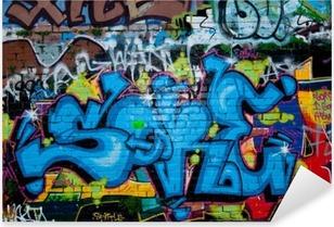 Graffiti detail on the textured brick wall Pixerstick Sticker