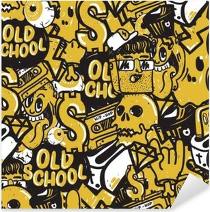 Graffiti Seamless Pattern Pixerstick Sticker