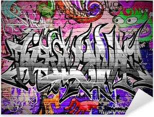 Graffiti vector art. Urban wall with spray paint Pixerstick Sticker