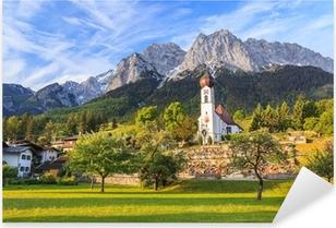 Pixerstick Sticker Grainau dorp en Zugspitze - Top of Duitsland