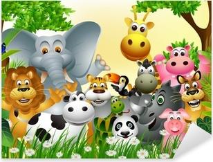 Pixerstick Sticker Grappige dieren cartoon met tropische bos achtergrond