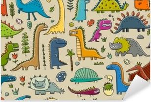 Pixerstick Sticker Grappige dinosaurussen, kinderachtige stijl. naadloos patroon voor uw ontwerp
