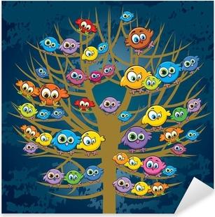 Pixerstick Sticker Grappige vogels en boom
