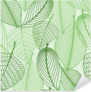 Green leaves seamless pattern background Pixerstick Sticker