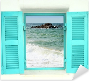 Pixerstick Sticker Griekse stijl venster met uitzicht op zee