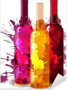 Pixerstick Sticker Groep van wijnflessen vith grunge spatten. Rood, rose en wit.