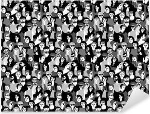 Pixerstick Sticker Grote menigte gelukkige mensen zwart-wit naadloos patroon.