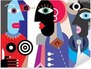 Sticker Pixerstick Groupe de personnes parlant