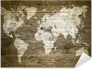 Sticker Pixerstick Grunge Bois - Carte du monde