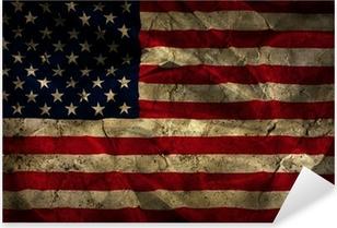 Sticker Pixerstick Grunge fond de drapeau américain.