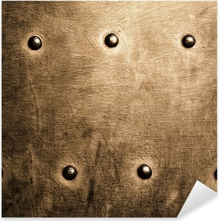 Grunge gold brown metal plate rivets screws background texture Pixerstick Sticker