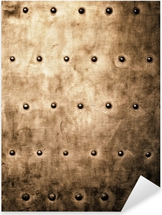 Grunge gold brown metal plate rivets screws background texture Pixerstick Sticker