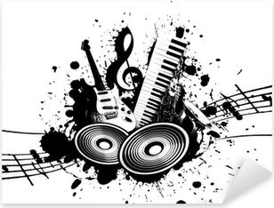 Grunge Music Pixerstick Sticker
