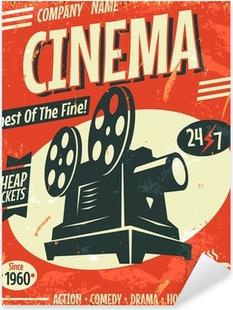 Grunge retro cinema poster. Vector illustration. Pixerstick Sticker