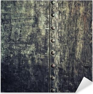 Pixerstick Sticker Grunge zwarte metalen plaat met klinknagels schroeven achtergrond textuur