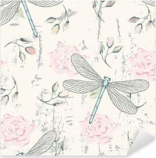 Pixerstick Sticker Grungy bloemen naadloos patroon met libellen