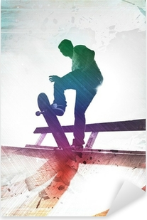 Grungy Skateboarder Pixerstick Sticker
