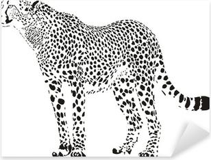 Sticker Pixerstick Guépard - illustration vectorielle en noir et blanc