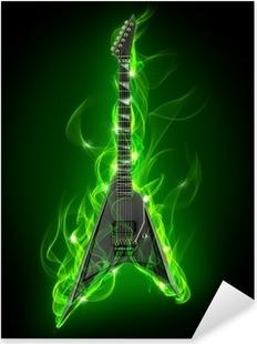 Sticker Pixerstick Guitare électrique en feu vert et flamme