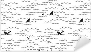 Pixerstick Sticker Haai dolfijn naadloze patroon vector walvis zee oceaan doodle geïsoleerd behang achtergrond wit