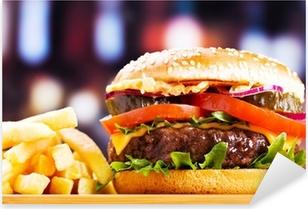 hamburger with fries Pixerstick Sticker