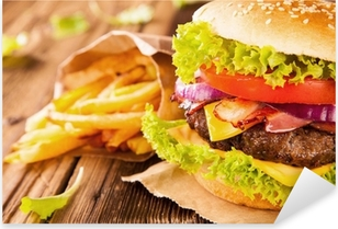 Sticker Pixerstick Hamburgers frais