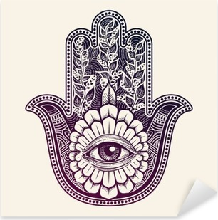Pixerstick Sticker Hamsa. de hand van Fatima, good luck symbool