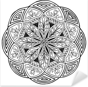 Hand-drawing mandala, round floral ornament. Pattern for coloring book or print for cloth. Vector stock illustration. Pixerstick Sticker