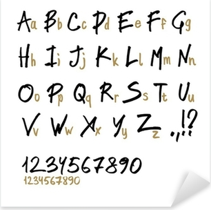 Hand drawn alphabet letters, in two faces (upper and lowercase). Pixerstick Sticker