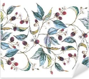 Sticker Pixerstick Hand-drawn aquarelle seamless ornament avec des motifs naturels: branches mûres, les feuilles et les baies. illustration décorative répétée, frontière avec les baies et les feuilles