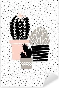 Sticker Pixerstick Hand Drawn Cactus Affiche