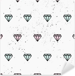 Sticker Pixerstick Hand Drawn Diamonds Pattern Seamless
