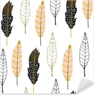 Sticker Pixerstick Hand Drawn Feathers Pattern Seamless