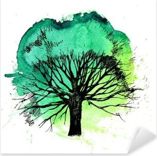 Hand drawn tree silhouette Pixerstick Sticker