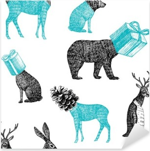 hand drawn winter animals seamless background Pixerstick Sticker