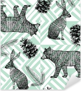 hand drawn winter trendy pattern, geometric background Pixerstick Sticker