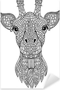 Kleurplaten Voor Volwassenen Giraf.Sticker Zentangle Giraffe Hoofd Totem Voor Volwassen Anti Stress